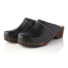 HAND MADE  IN THE UK CLOG  WOODEN SOLE, LEATHER UPPER