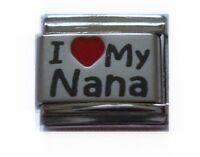 9mm Classic Size Italian Charms  L28 I Love MY NANA  Fits Classic Size Bracelet