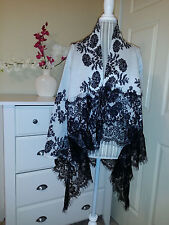 SIONI White/Black Floral Cashmere Blend Knit & Lace Wrap Cardigan Sz.S/M $98