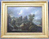 Antikes Ölgemälde Arkadische Landschaft Ölbild Bild Barock Wasserfall Ruine