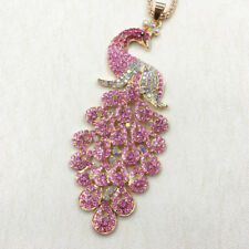 Gold Plated Blue/Dark Blue/Colorful/Pink/Purple Peacock Pendant Necklace Chain