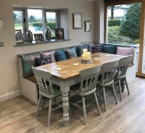 Farmhouse Solid Wood Table Chair Sets For Sale Ebay
