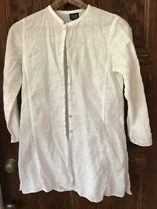 Eileen Fisher PP PETITE IRISH Linen WHITE GORGEOUS Tunic Shirt Top NEW NWOT