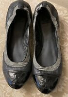 Tory Burch  Black Soft Leather Patent  Foldable Logo Heel Ballet Flats size 10.5