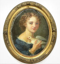 Antique Framed Oval Canvas Girl & Dove Pastel Painting