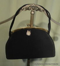 Cute Vintage 50's 60's Black Fabric Evening Bag w Watch Charm Fob & Coin Purse