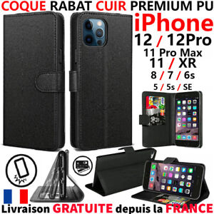 COQUE POUR IPHONE 12 PRO MAX 11+XR 7 8 6S SE 2020 - CUIR PREMIUM PU ETUI HOUSSE