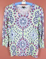 SC000796- TALBOTS Women's Thin Light Cotton Rayon Cardigan Sweater Multicolor M