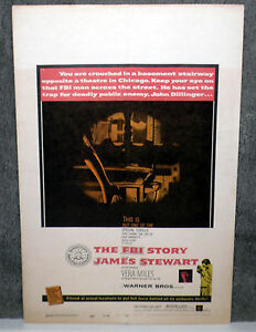 THE FBI STORY original 1959 movie poster JAMES STEWART/VERA MILES