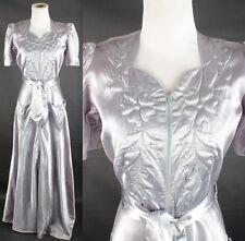 VTG 1940s Lilac Bias Cut Satin Dressing Gown #1473 40s Trapunto Glamor Dress