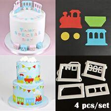 4 Pcs/set Print Plunger Stencil Stamp Fondant Cake Mold Train Cookie Cutter