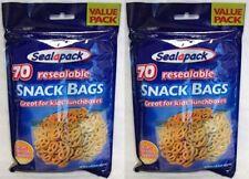 2x 70pk Resealable Food Snack Bags Portion Lunch Bag Kids School Freezer Storage