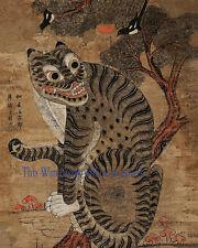"Korean Art, Minhwa(민화)-Tiger and magpie, 8""x10"" Printed on silk Matted fa8"