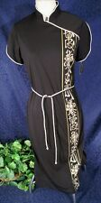 NOS Vintage 70-80s Hand Painted ALFRED SHAHEEN Hawaii Black Oriental Dress 12