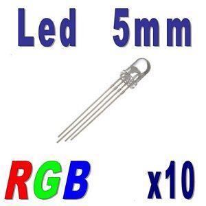 10x LED RGB 5mm Rouge, Vert, Bleu Cathode commune