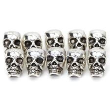 10 Tibet Silver Antique SKULL SPACER BEAD DIY JEWELRY CRAFT FINGDINGS 3.9MM HOLE