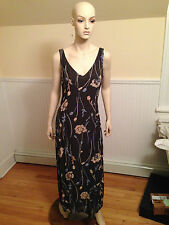 Vintage ZARA COLLECTION Brown Floral Sleeveless Dress Size 8 Made in Spain EUC