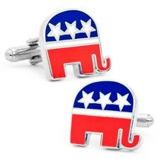 Republican Elephant Blue Convention Red White Cufflinks + Free Box & Cleaner