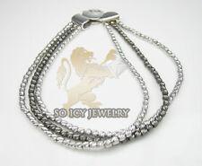 "13 Grams 2mm 7"" Ladies 14K White Black Gold Diamond Cut 3 Row Bead Bracelet"
