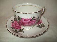 colclough pink roses floral fine Bone China Tea Cup & Saucer  #7796