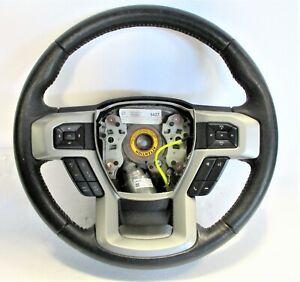 OEM 2017-2021 Ford F-250 Black Leather White Stitch Steering Wheel LC3Z-3600-EC
