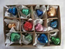 12 Antique Tiny Mercury Glass Feather Tree Xmas Ornaments Hearts Bells Shapes