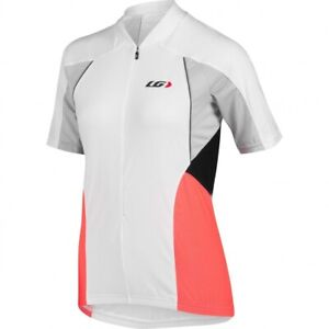 NEW LOUIS GARNEAU WOMEN'S BEEZE VENT CYCLING JERSEY, WHITE/CORAL, X-LARGE
