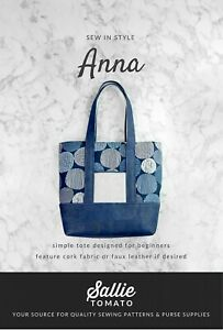 """Sallie Tomato Anna Simple Tote Beginner Sewing Pattern 17-1/2"""" x 15"""" x 5"""""""