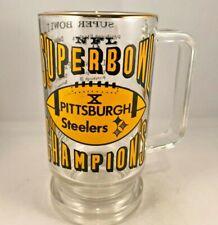 Vintage Pittsburgh Steelers 1975 Super Bowl Champions Glass Beer Stein