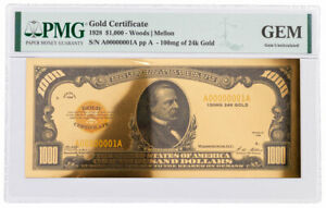 1928 $1,000 24KT Gold Certificate Commemorative PMG GEM Uncirculated