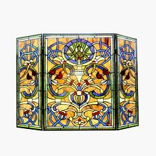 "Last One This Price Stained Glass Three Piece Fireplace Screen 28"" T x 40"" W"
