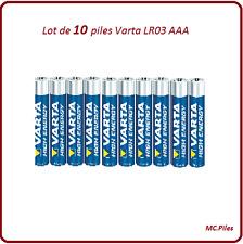 Lot 10 piles Varta alcalines LR03 AAA High Energy, livraison rapide et gratuite
