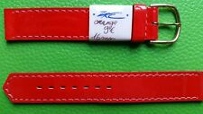 BRACELET MONTRE  /// watch band cuir MARQUE ZRC***** 16mm orange vernis   BE30