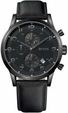 Hugo Boss Black Dial Leather Chronograph Quartz Men's Watch 1512567