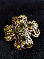 VTG Signed HAR Hargo Green Rhinestone Flower Brooch Gold Tone Designer Pin