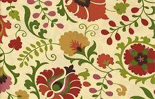 5 Yds Richloom Fabric Sahalie Henna Outdoor Beige Red Green Drapery Upholstery