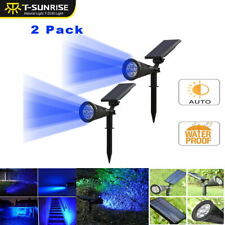 2PCS Solar Power Blue Spot Light Lamps Outdoor Garden Path Landscape LED Light