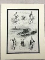 1875 Antico Stampa Militare Spagnolo Soldati Third Carlist Guerra Spagna