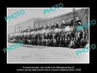 OLD 8x6 HISTORIC PHOTO OF NEWNAN GEORGIA THE COLE Co TELEPHONE POLE TANK 1920