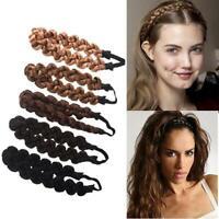 Synthetic Wig Braided Twist Hair Band Elastic Twist Headband Princess Hair-RO
