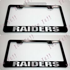 2X RAIDERS Stainless Steel Black License Plate Frame Rust Free W/ Bolt Caps