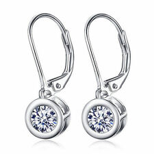 Zirconia Paved Drop Earring Dangle Leverback Pure 925 Sterling Silver Gems Cubic