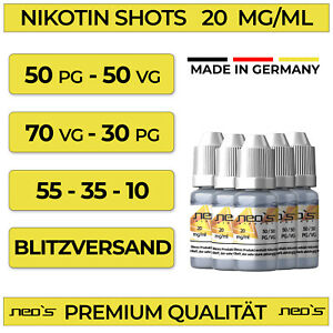 Nikotin Shots 20mg 5 10 30 50 100x 10ml Shot Base für e Liquid 50/50 70/30 PG VG