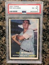 1957 TOPPS TED WILLIAMS CARD # 1 PSA GRADED 6 EX-MINT BOSTON RED SOX