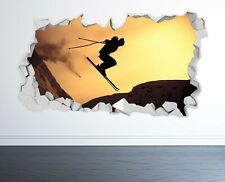 SKIING WALL STICKER 3D LOOK - BOYS KIDS BEDROOM EXTREME SPORT WALL DECAL Z1143