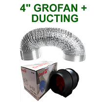 "HYDROPONICS VENTILATION COMBO - 4 INCH GROFAN + DUCTING FOR GROW TENT 4"" EXTRACT"