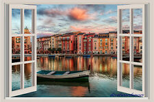 Portofino Italy Sunset Window View Color Wall Sticker Wall Mural 3 FT Wide