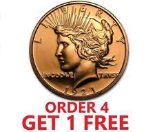 1 Ounce .999 Fine Copper Round - Peace Dollar
