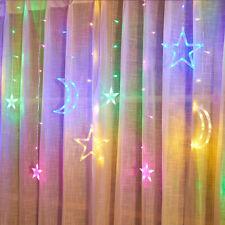 LED Twinkle Star Moon Curtain Window Fairy Lights Christmas Party Wedding Decor