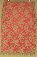 Charlie Brown SKIRT Hot Pink / nude lace overlay midi Pencil Skirt ~ Women sz 8